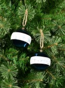 Blue Gloss Baubles With Cream Stripe Band - 4 x 80mm