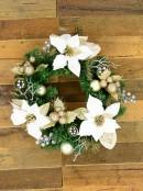 Decorated White Poinsettia, Mistletoe, Berries & Baubles Pine Wreath - 45cm