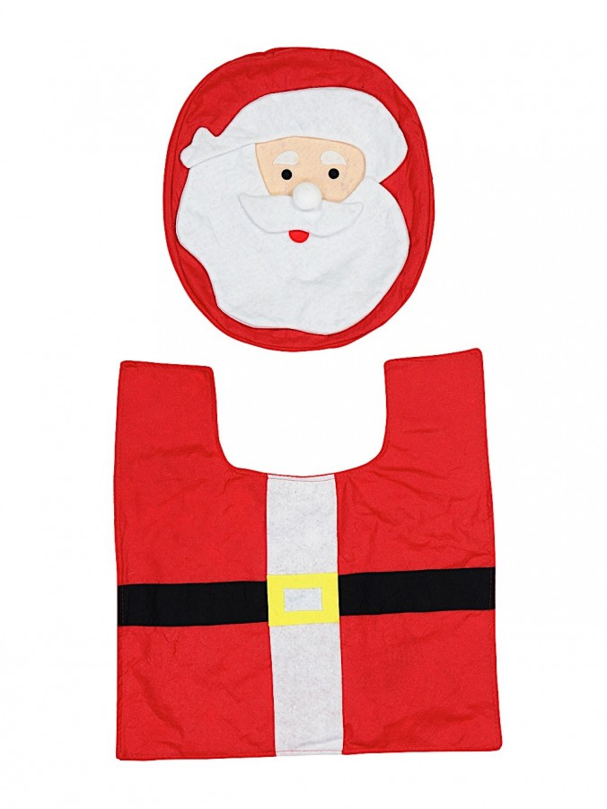 Santa Toilet Seat Cover & Floor Mat Set - Fits Most Thrones