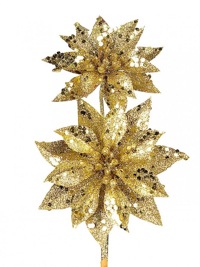 Gold Glitter Poinsettia Pick With 2 Flowers On Single Stem - 30cm