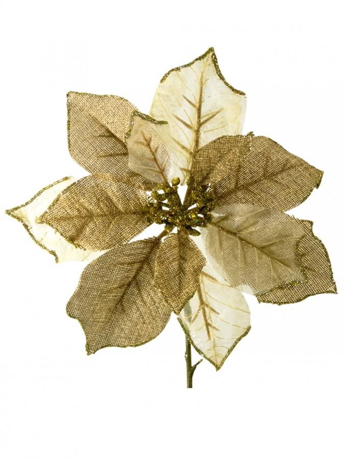 Gold & Ivory Organza Poinsettia Decorative Pick - 26cm