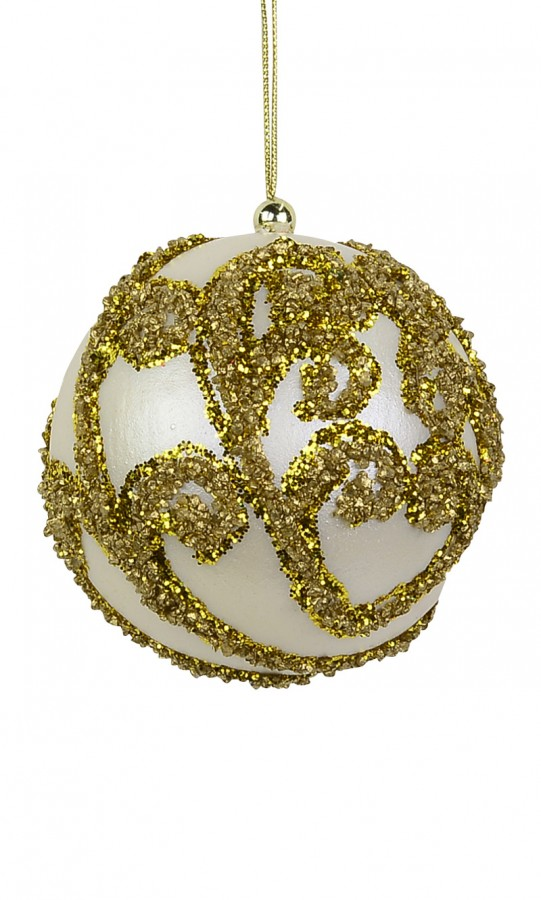 Ivory Bauble with Gold Glitter Encrusted Swirl - 8cm