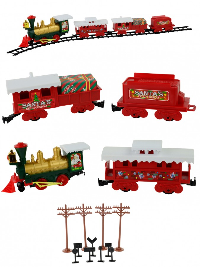 Santa's Express Christmas Train Set with Remote Control - 29 Piece Set
