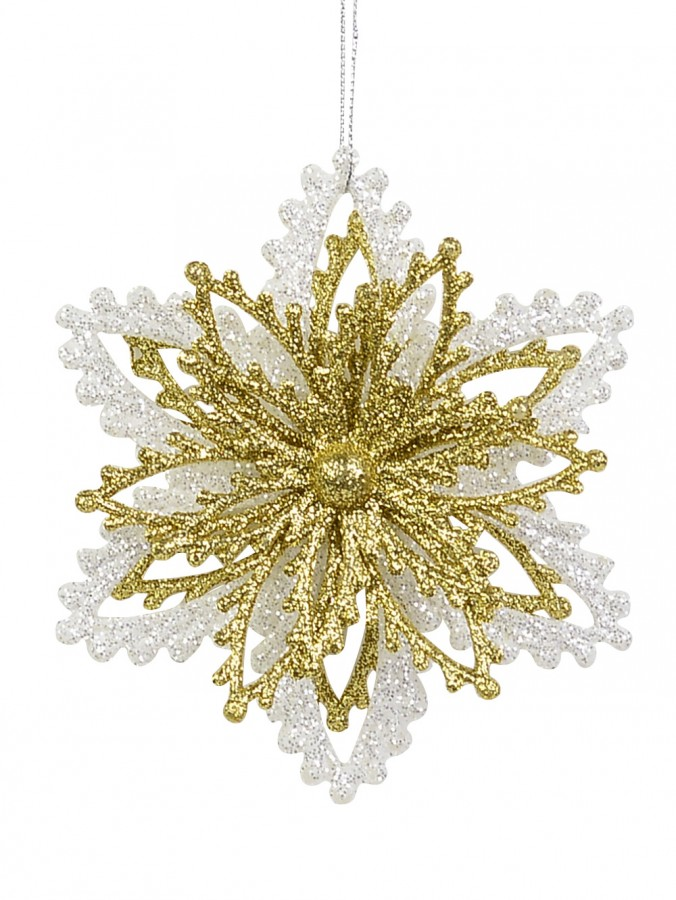 Gold & White Glitter Snowflakes Hanging Ornament - 13cm