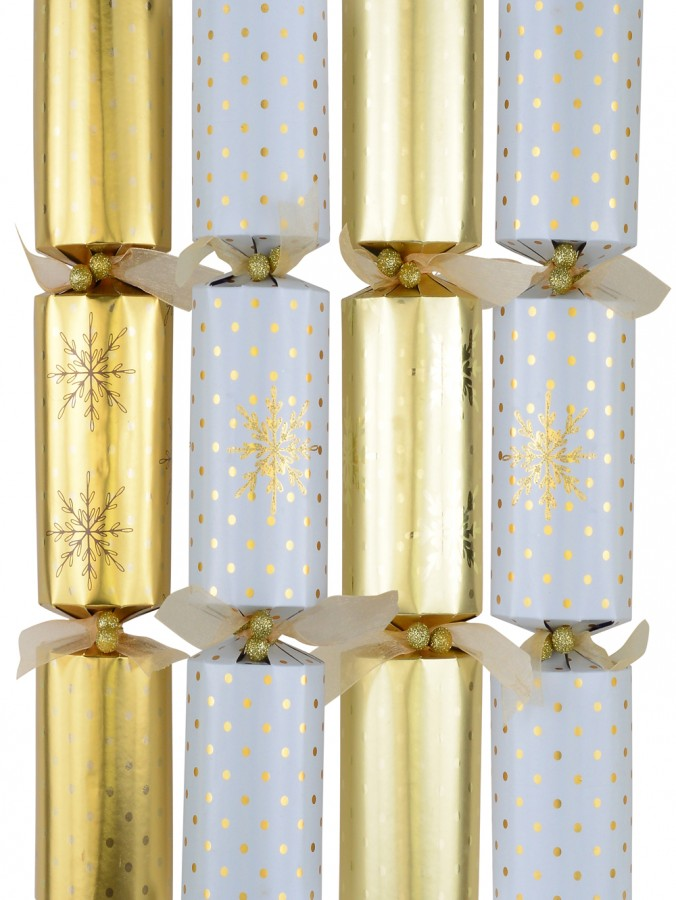 Gold & White With Snowflakes & Dots Christmas Cracker Bon Bons - 6 x 36cm