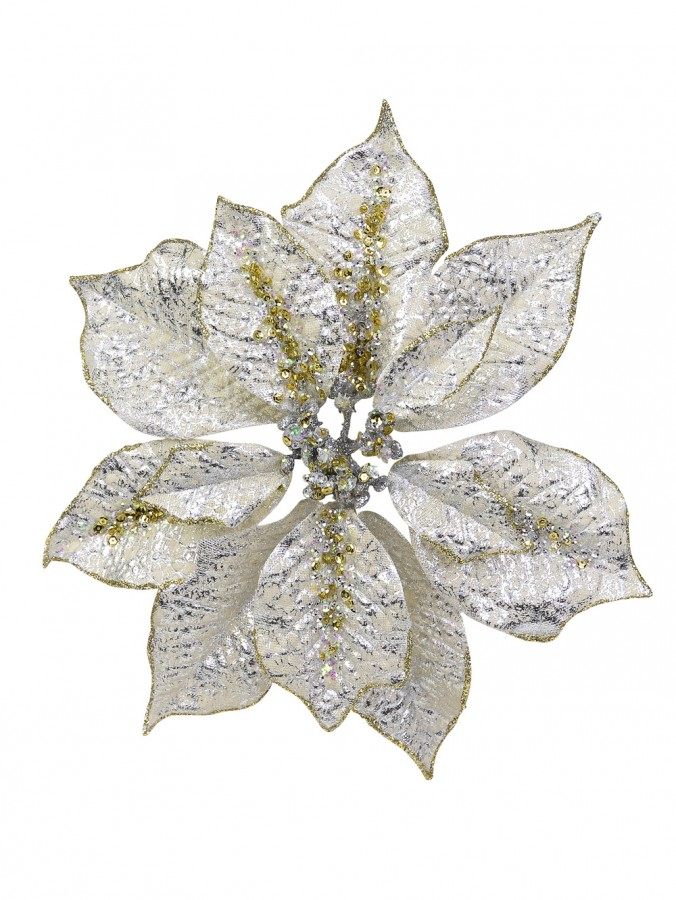 Silver With Gold & Silver Sequins Decorative Poinsettia Floral Pick - 28cm