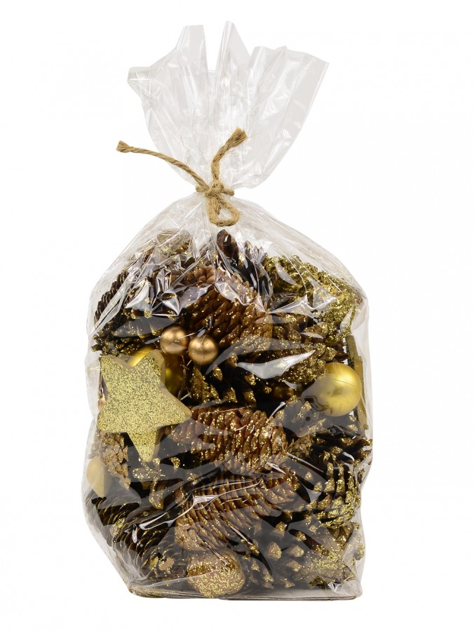 Bag Of Decorative Gold Pine Cones With Stars & Baubles - 300g