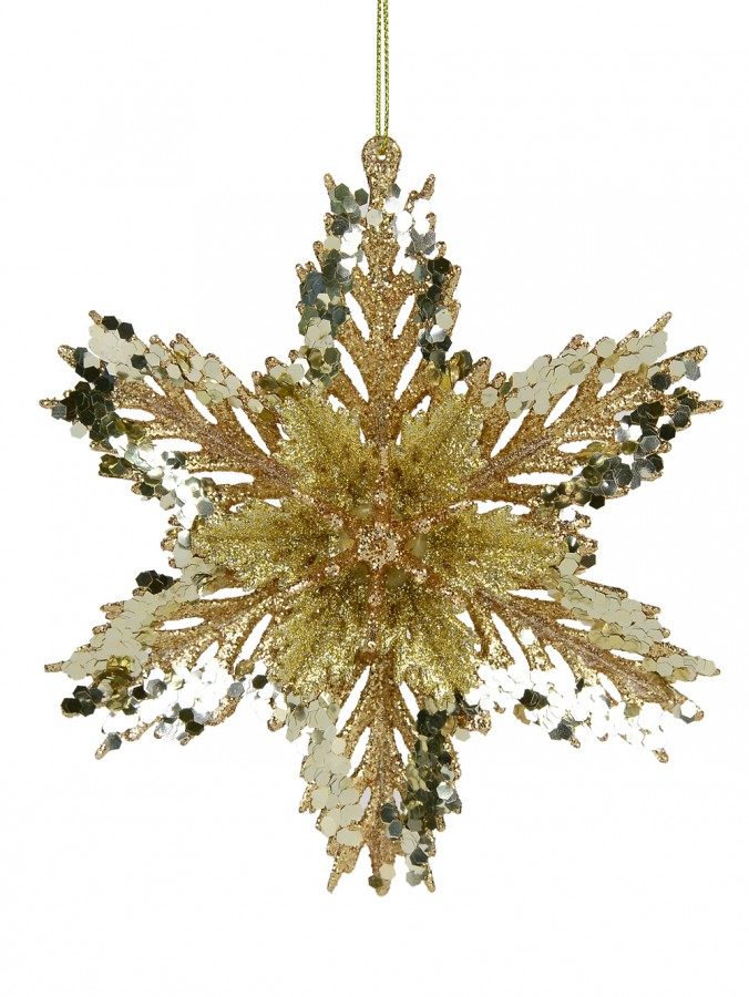 3D Gold Snowflake With Sequins Christmas Tree Hanging Decoration - 15cm
