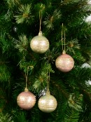 Pink & Champagne Pearl Baubles With Gold Glittered White Stripes - 12 x 60mm