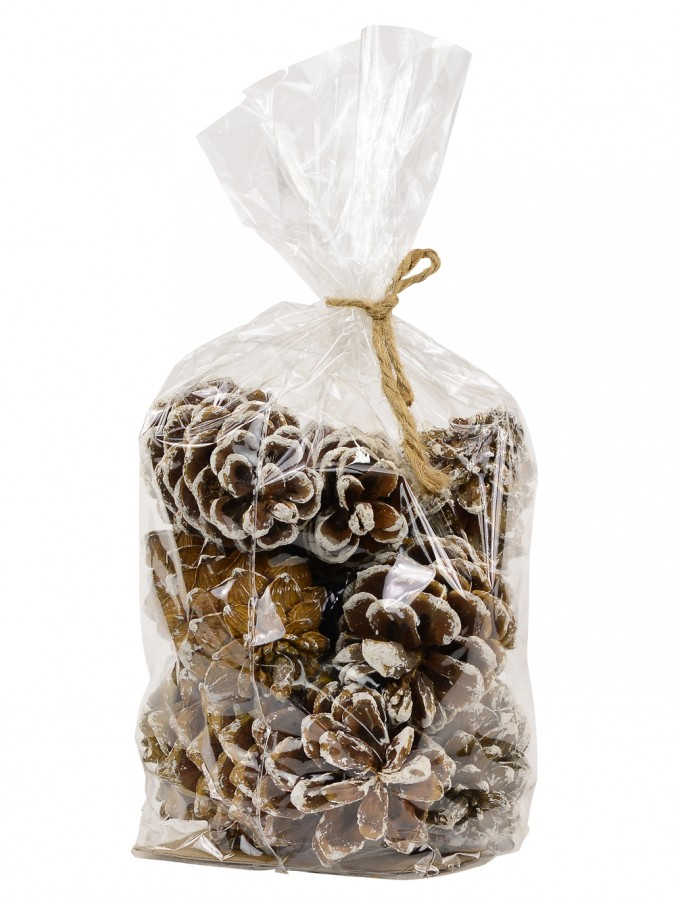 Bag Of Decorative White Frosted Tip Natural Look Pine Cones - 300g