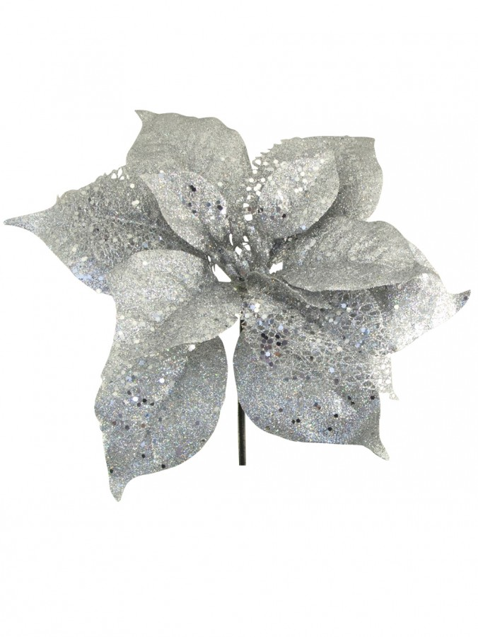 Silver Sequin & Glitter Poinsettia Decorative Pick - 26cm