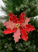 Red Glittered Felt Two Leaf Style Decorative Poinsettia Floral Pick - 28cm