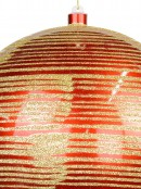 Red Gloss With Thin Gold Glitter Stripe Large Bauble Display Decoration - 25cm
