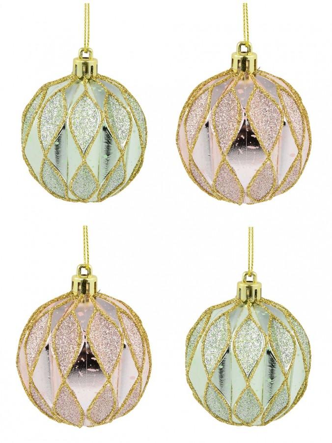 Light Pink & Light Green Geometric Shiny & Glittered Baubles - 6 x 60mm