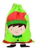 Elf With Dangling Legs Green Christmas Gift Santa Sack - 90cm