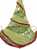 Red Tinsel & Green Velvet Wrapped Table Top Tree - 50cm
