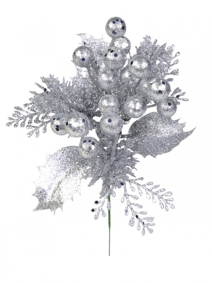 Silver Glitter Pick With Holly Leaves, Branches & Berries - 20cm
