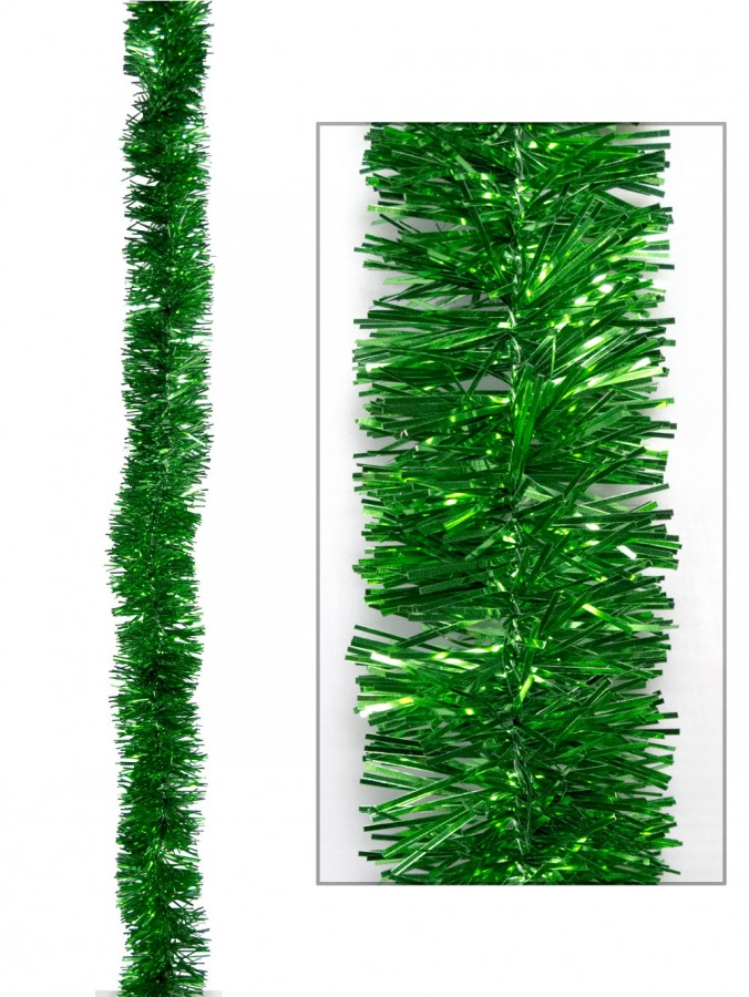 Green Metallic 6ply Tinsel Garland - 50mm x 5m