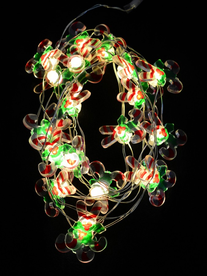 20 Warm White LED Candy Cane Battery String Lights - 1.9m