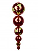 Large Metallic Ruby Red Finial with Lime Green Star Print - 1m