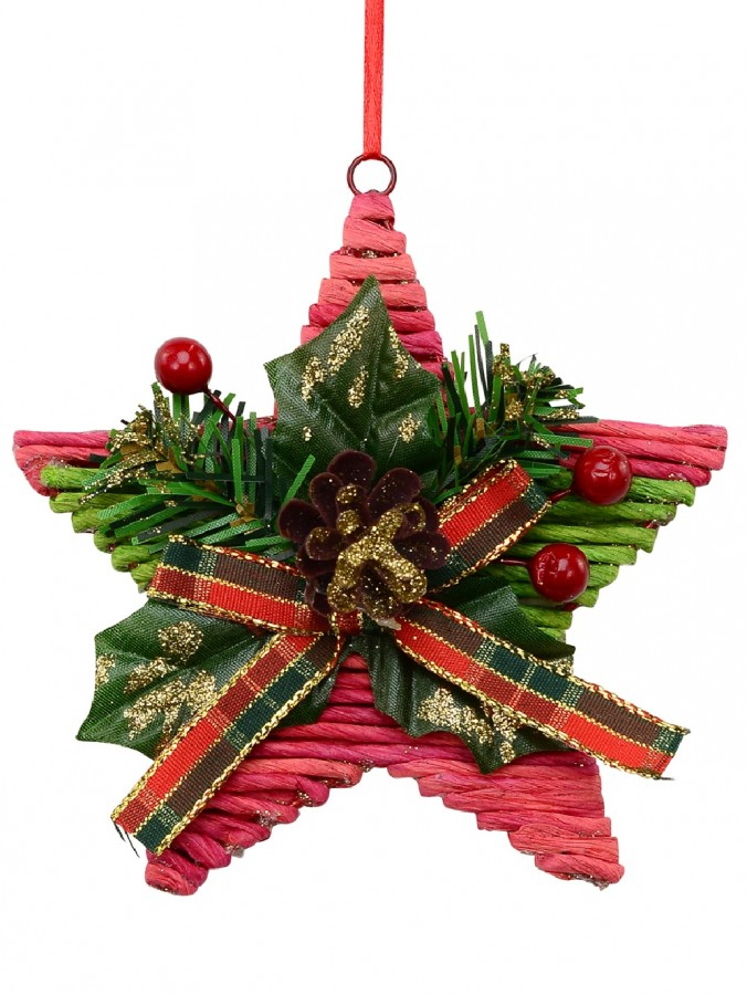 Red Twine Star With Green Foliage Christmas Tree Hanging Decoration - 12cm