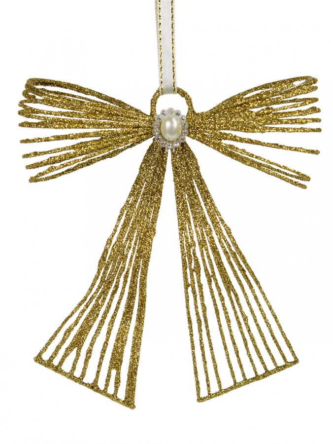 Gold Glitter Metal Ribbon Hanging Ornament with Pearl Embellishment - 12cm