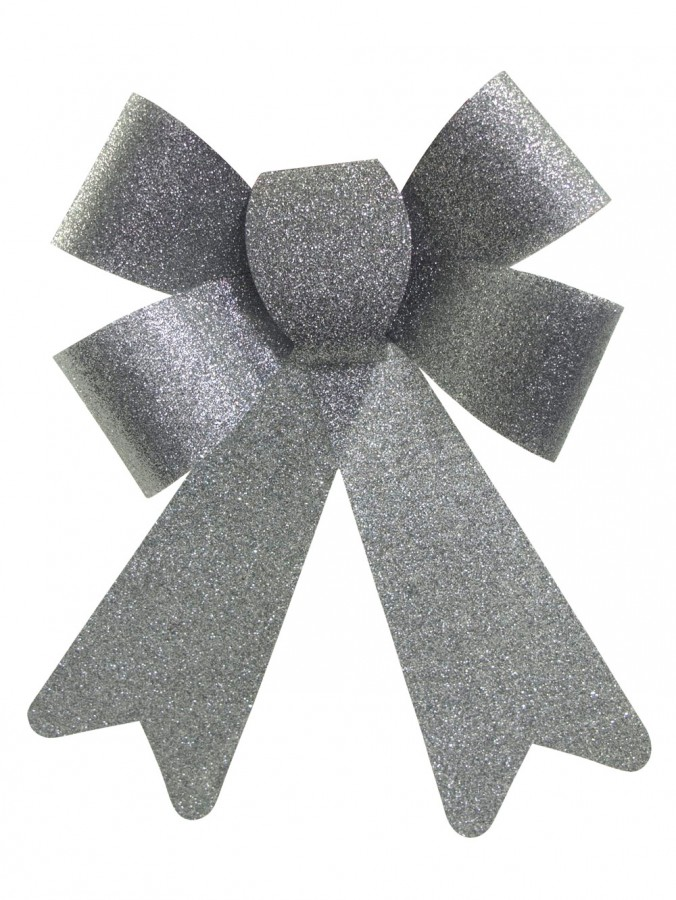 Silver PVC Christmas Bow Decoration - 24cm