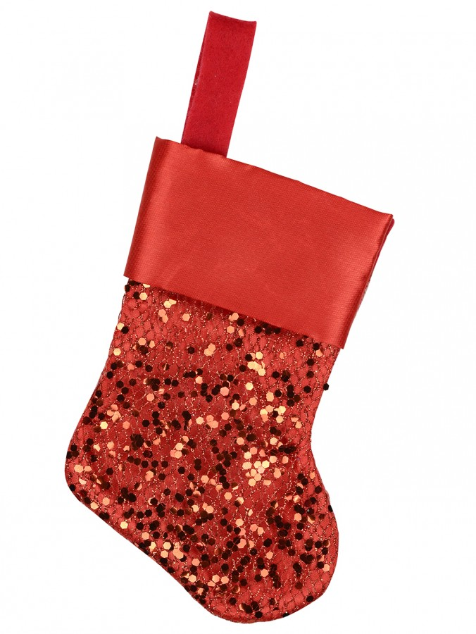 Mini Red Sequin Christmas Stocking Decorations - 6 x 15cm