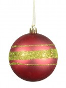 Metallic Green & Matt Red With Glitter Stripes Baubles - 4 x 80mm