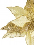 Gold Decorative Poinsettia Floral Pick With Gold Glitter Detail - 25cm