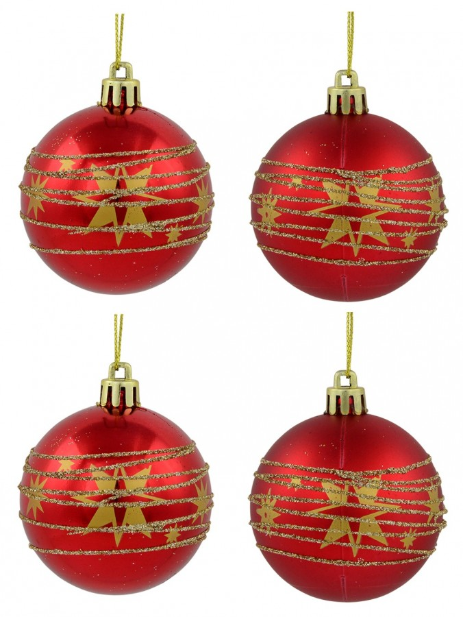 Red Shiny & Matte Baubles With Gold Stars & Glitter Stripes Design - 6 x 60mm