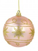 Pink & Gold With Gold Glitter Star & Swirl Pattern Baubles - 4 x 80mm