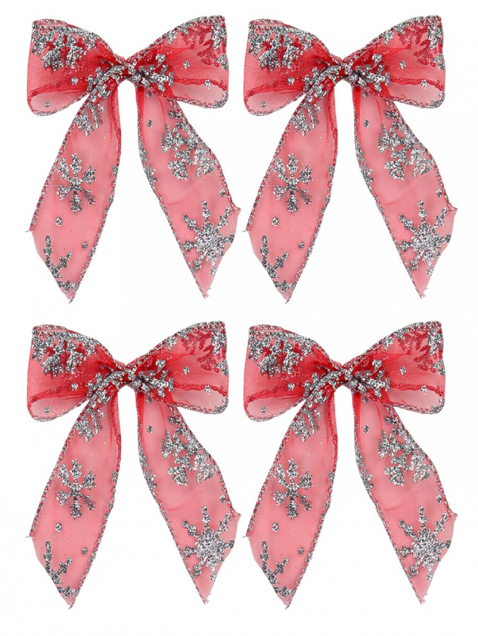 Red & Silver Glitter Snowflake Pattern Christmas Bow Decorations - 6 x 12cm