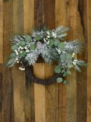 Decorated Wire Spun Winter Wreath With Mixed Flocked Foliage - 50cm