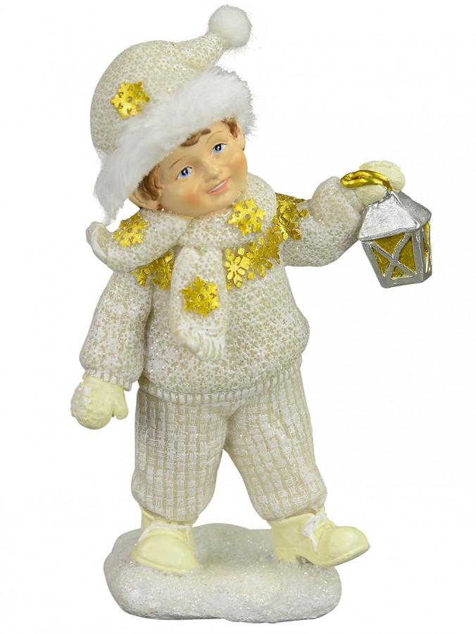 Gorgeous Boy With Lantern Ceramic Ornament - 13cm