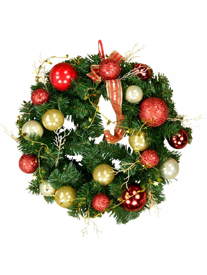 Decorated Red & Gold Bauble, Ribbon & Twigs Pine Wreath - 44cm