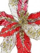 Red, Gold & Platinum Decorative Christmas Cactus Floral Pick - 25cm