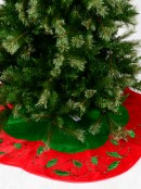 Green & Red Velvet With Holly Leaf Design Scallop Shape Tree Skirt - 1.2m