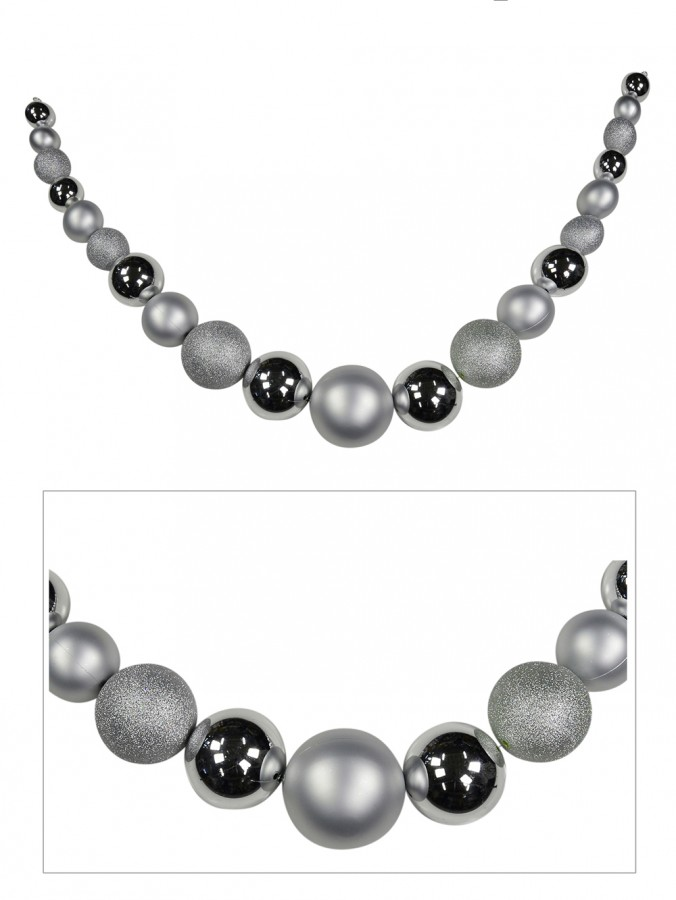 Large Silver Bauble Swag Garland - 1.8m