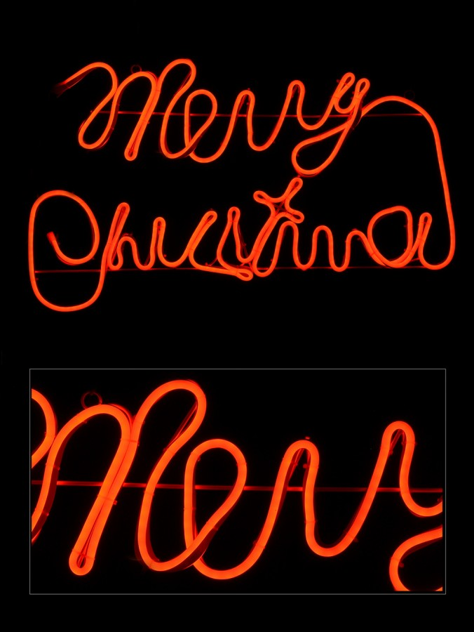 Merry Christmas Red Neon Rope Light Silhouette - 75cm