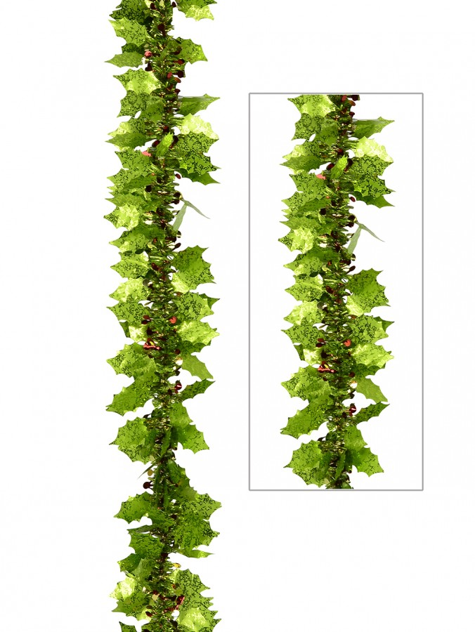 Lime Green Holly Leaf & Berry Like Tinsel Garland - 2.7m