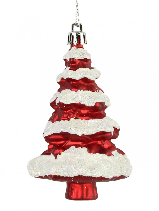 Metallic Red 3D Christmas tree With Snow Hanging Decoration - 11cm