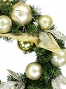 Decorated Gold & Champagne Bauble, Leaf Stem & Ribbon Bow Pine Wreath - 45cm