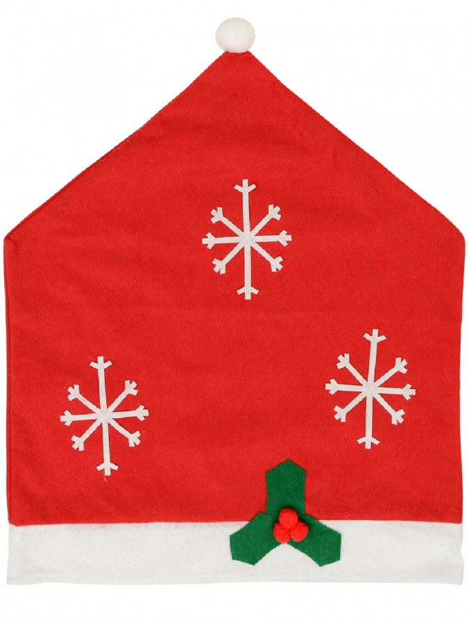 Red Felt Christmas Chair Cover With Appliqued Snowflakes & Mistletoe - 60cm