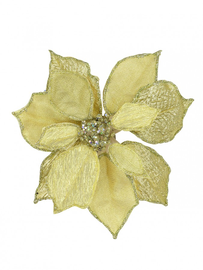 Gold Fabric Poinsettia Pick With Gold Edging - 27cm