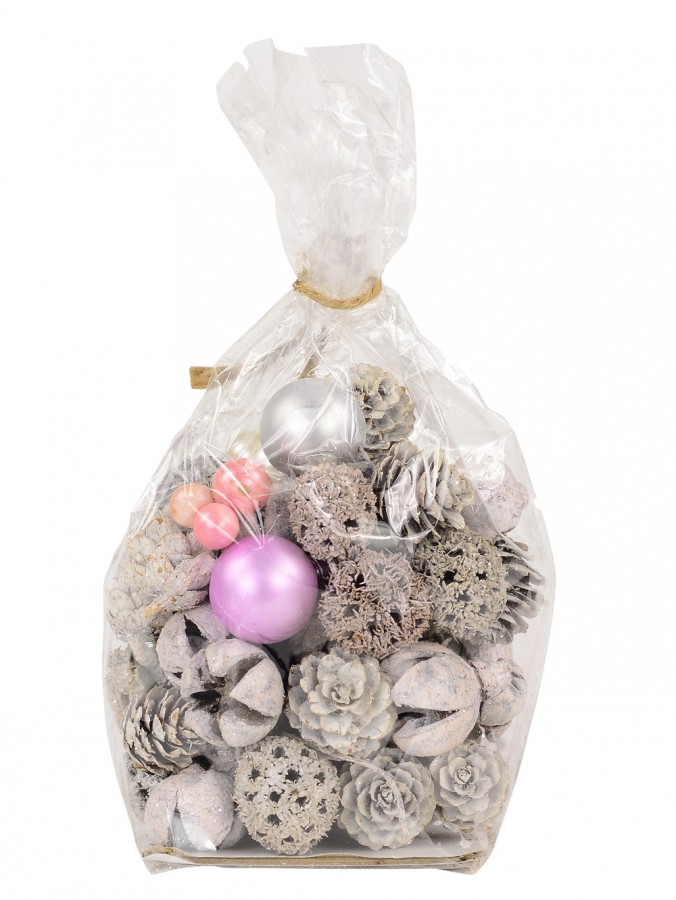 Bag Of Assorted Decorations In Soft Pink & White Theme - 100g