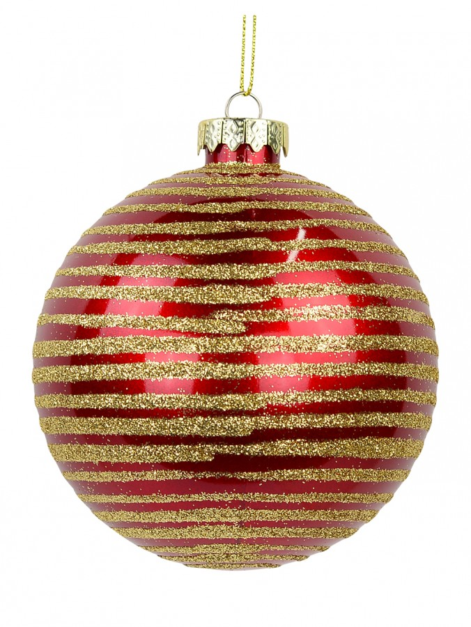Deep Red Gloss Bauble with Gold Glitter Lined Design - 10cm