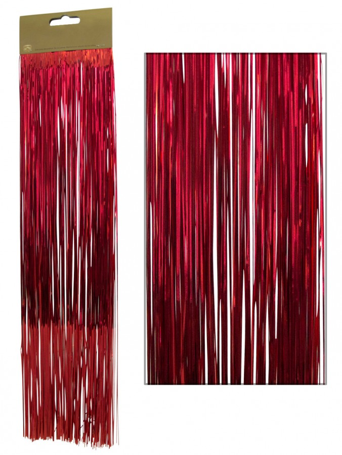 Red lametta tinsel icicles strands christmas