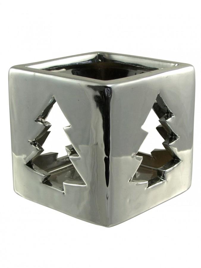 Shiny Winter Ceramic Christmas Tree Tea Light Holder - 80mm
