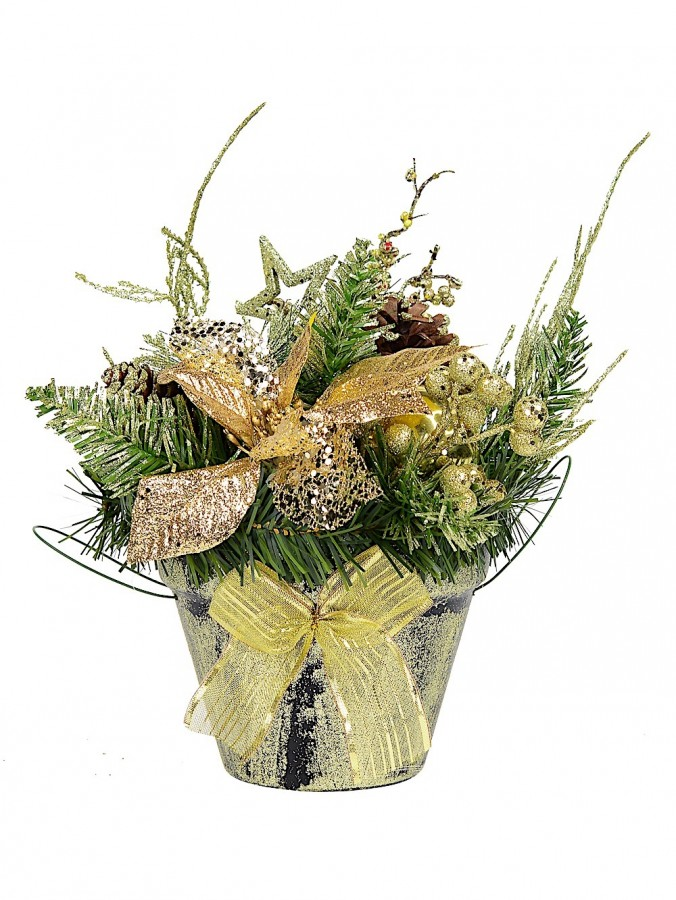 Gold Potted Table Decoration - 25cm